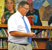 BCMS Principal Jeff Jennings at a school board meeting earlier this year.  Jennings will be the new principal at North Butler. (BtN File Photo)